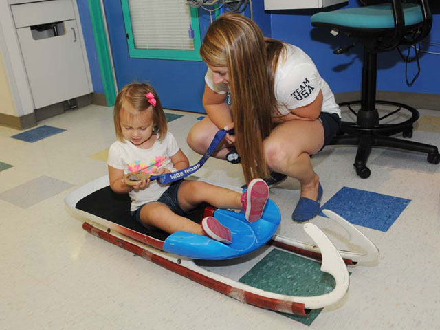 Olympian visits Texas Children's