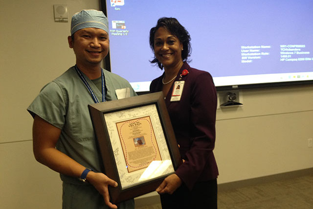 West Campus anesthesia tech receives employee honor