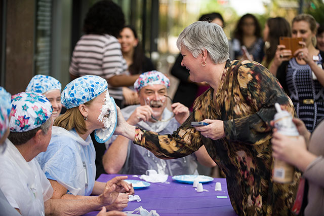Pie Your Leader Day brought employees together to support a worthy cause
