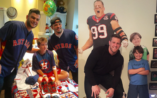 Two Texas Children's patients get a surprise visit from their favorite sports hero