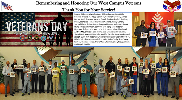 Texas Children's veterans honored on Veteran's Day