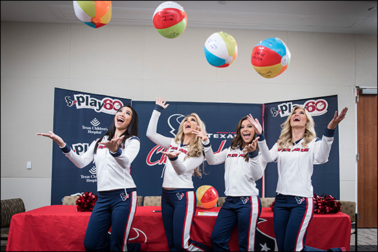 Houston Texans cheerleaders host cheerleading camp at hospital