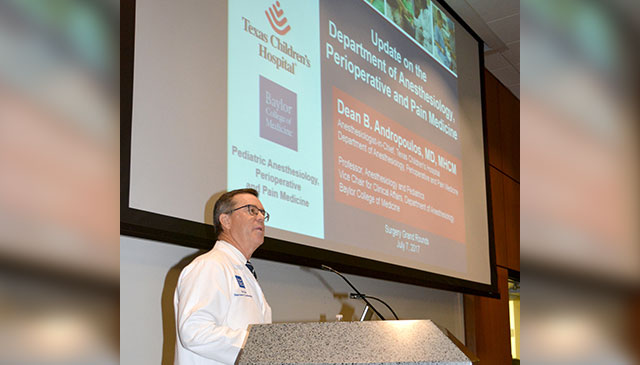 Anesthesiologist-In-Chief Dr. Dean B. Andropoulos speaks at Surgery Grand Rounds about strength, growth of Department of Anesthesiology, Perioperative, Pain Medicine