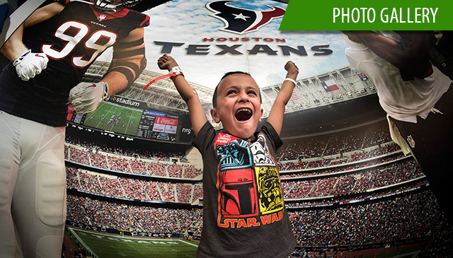 Patients cheer for Houston Texans prior to Sunday's game