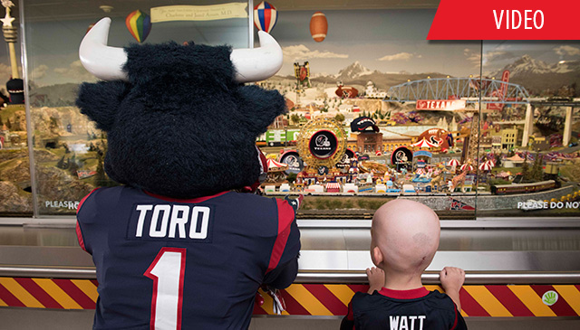 Texas Children's train decked out in Texans gear for upcoming football season