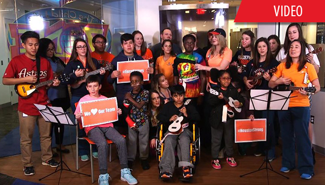 Texas Children's ukulele choir, patients cheer on the Houston Astros
