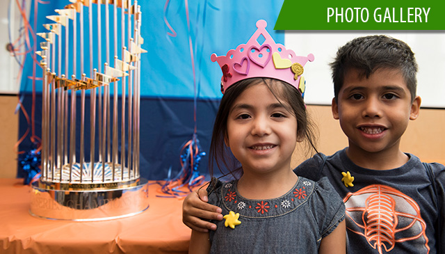 Cancer Center patients get up-close look at World Series trophy