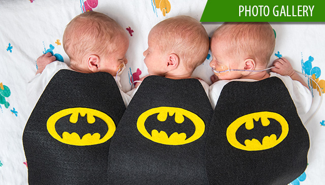 Babies in NICU sport super hero capes for prematurity awareness month