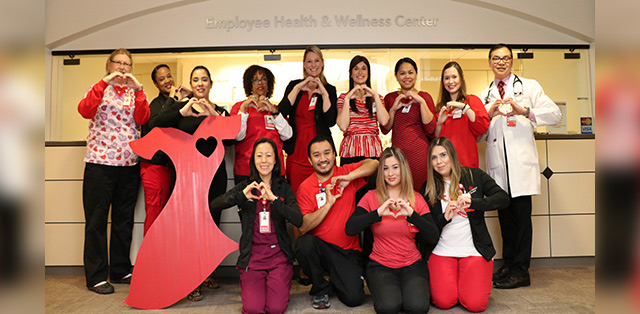 Participate in 'Go Red for Women' by wearing red, getting screened