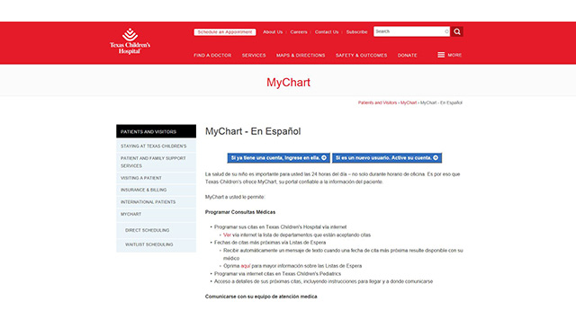 Texas Children's MyChart now available in Spanish for patients, staff