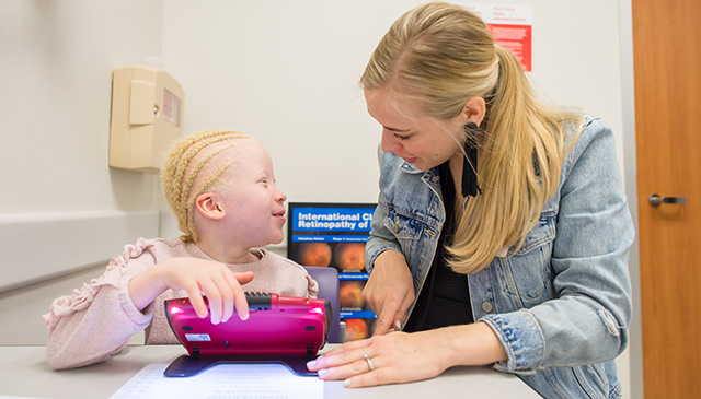 Low vision clinic at West Campus helps improve quality of life for children with visual impairment